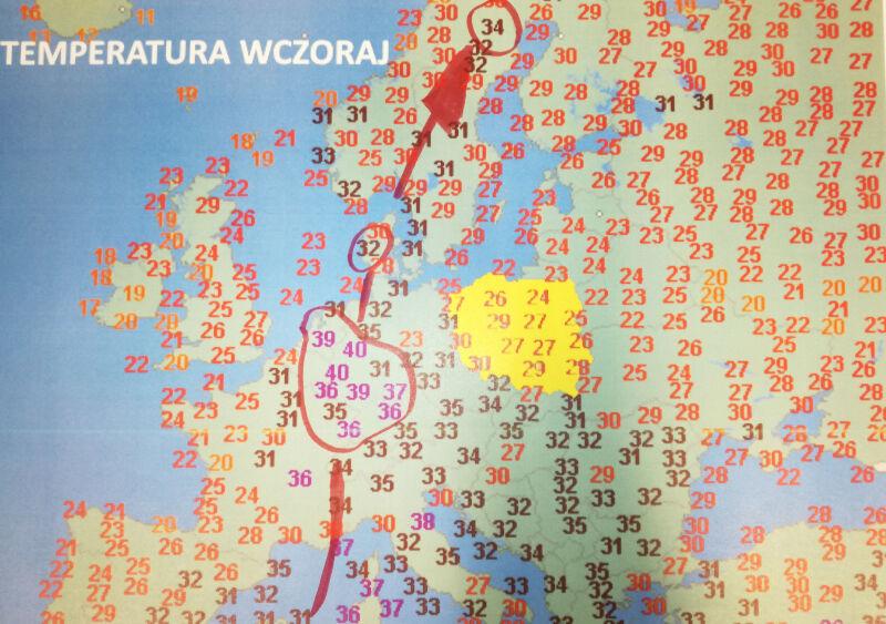 Temperatura maksymalna w Europie w piątek 26 czerwca (wetteronline.de)