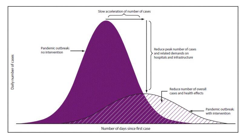Dwa warianty rozwoju epidemii według CDC (Foto: Community Mitigation Guidelines to Prevent Pandemic Influenza)