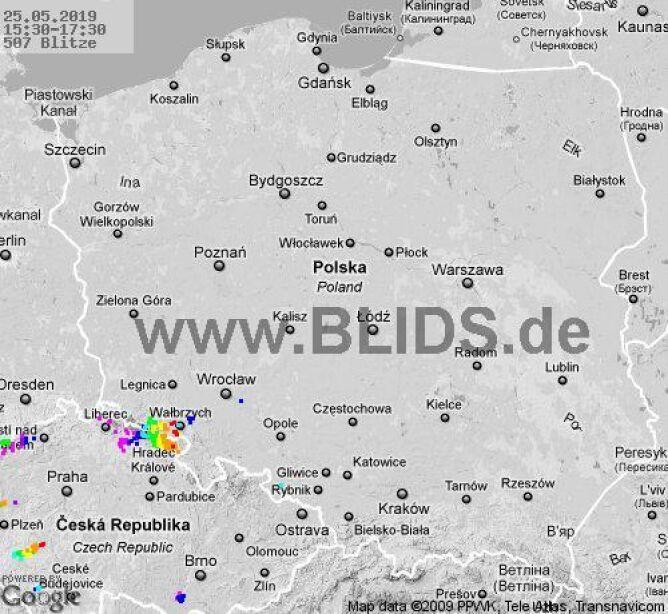 Ścieżka burz w godzinach 15.30-17.30 (blids.de)
